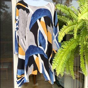 Alfani High Low Large Tunic 3/4 Sleeve Blouse